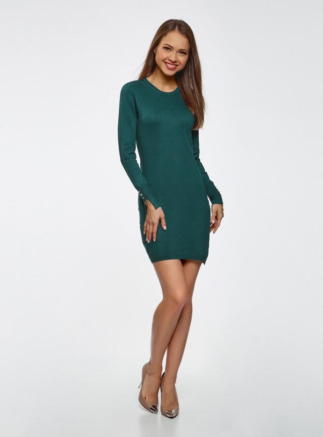 Платье базовое из вискозы с пуговицами на рукаве oodji для женщины (зеленый), 73912217-1B/33506/6E00N