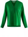 Блузка принтованная из вискозы oodji #SECTION_NAME# (зеленый), 11411049-1/24681/6B00N