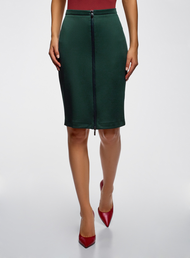 Юбка трикотажная на молнии oodji для женщины (зеленый), 24100033-4B/48480/6E00N