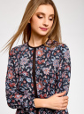 Блузка из струящейся ткани с контрастной отделкой oodji #SECTION_NAME# (разноцветный), 11411059B/43414/7945F - вид 4