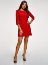 Платье из плотной ткани с отделкой из искусственной кожи oodji для женщины (красный), 11902145-1/38248/4500N