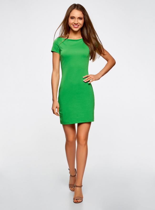 Платье трикотажное с вырезом-лодочкой oodji #SECTION_NAME# (зеленый), 14001117-2B/16564/6A00N