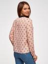 Блузка прямого силуэта с отложным воротником oodji #SECTION_NAME# (розовый), 11411181/43414/4029U - вид 3