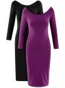 Платье с вырезом-лодочкой (комплект из 2 штук) oodji #SECTION_NAME# (разноцветный), 14017001T2/47420/19KUN