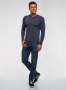 Пуловер базовый с V-образным вырезом oodji #SECTION_NAME# (синий), 4B212007M-1/34390N/7902M - вид 6