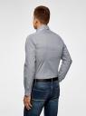 Рубашка хлопковая в мелкую графику oodji #SECTION_NAME# (синий), 3L110299M/19370N/7910G - вид 3