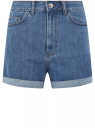 Шорты джинсовые mom fit с отворотами oodji для женщины (синий), 12807092-1/50059/7500W