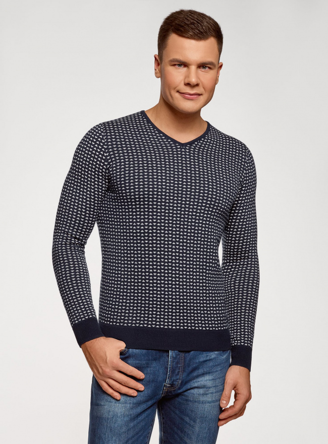 Пуловер прямого силуэта с контрастной отделкой oodji #SECTION_NAME# (синий), 4L212171M/25255N/7910J