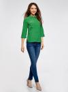 Блузка из струящейся ткани с регулировкой длины рукава oodji #SECTION_NAME# (зеленый), 11403225-1B/45227/6A00N - вид 6
