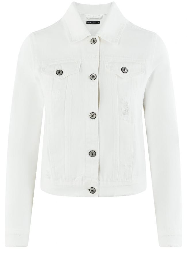 Куртка джинсовая oodji для женщины (белый), 11109037/49348/1000N