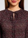 Блузка гофрированная с завязками oodji #SECTION_NAME# (красный), 11414005/46166/494AF - вид 4