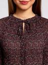 Блузка гофрированная с завязками oodji для женщины (красный), 11414005/46166/494AF
