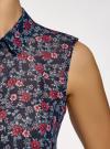 Топ из струящейся ткани с рубашечным воротником oodji #SECTION_NAME# (синий), 14903001B/42816/7945F - вид 5
