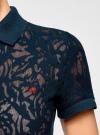 Поло из фактурной ткани с вышивкой oodji для женщины (синий), 19301006/46656/7900O - вид 5
