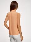 Топ из струящейся ткани с жабо oodji для женщины (оранжевый), 24911001-1B/48854/5400N - вид 3