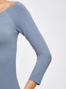 Платье облегающее с вырезом-лодочкой oodji #SECTION_NAME# (синий), 14017001-6B/47420/7501N - вид 5