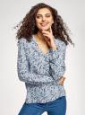 Блузка принтованная из вискозы oodji #SECTION_NAME# (синий), 11411049/24681/1079E - вид 2