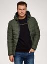 Куртка стеганая с капюшоном oodji #SECTION_NAME# (зеленый), 1B112027M/33743/6600N - вид 2