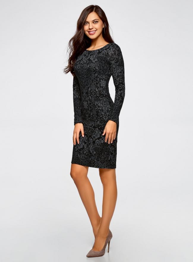 Платье трикотажное с этническим принтом oodji для женщины (черный), 24001070-4/15640/2923E