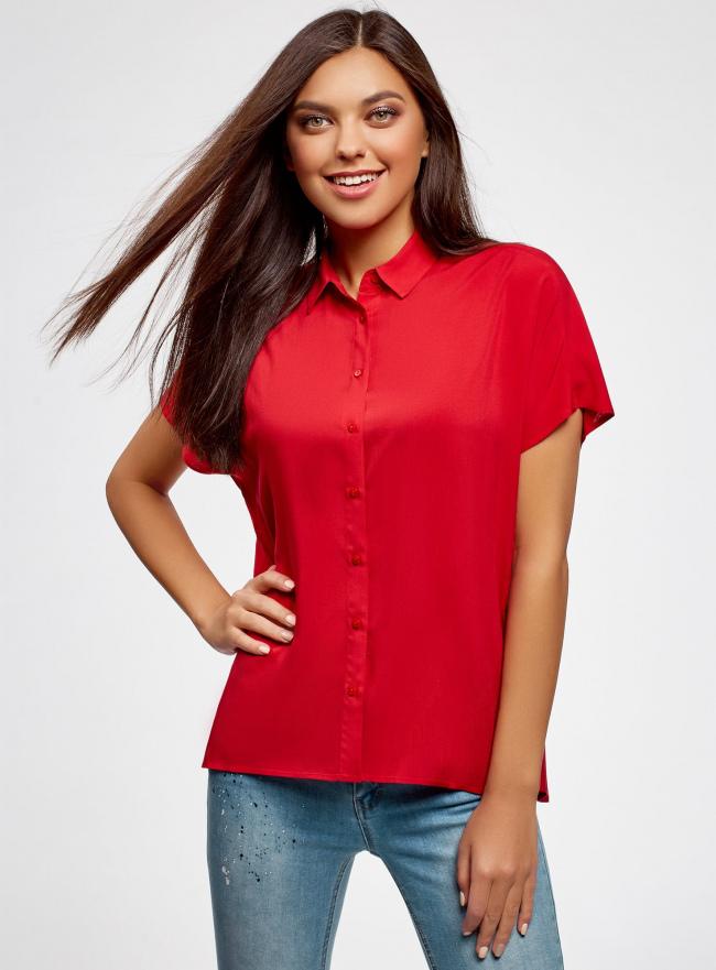 Блузка вискозная свободного силуэта oodji для женщины (красный), 11405139-1/24681/4500N