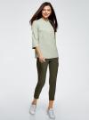 Блузка вискозная с регулировкой длины рукава oodji #SECTION_NAME# (зеленый), 11403225-3B/26346/6000N - вид 6