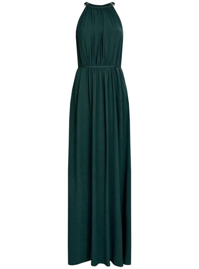 Платье макси с завязками на талии oodji для женщины (зеленый), 11911009/42629/6C00N