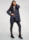 Куртка удлиненная с искусственным мехом на капюшоне oodji #SECTION_NAME# (синий), 10203058/45928/7901N - вид 6