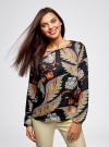 Блузка свободного кроя с вырезом-капелькой oodji #SECTION_NAME# (черный), 21400321-2/33116/2933F - вид 2