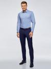 Рубашка базовая приталенная oodji для мужчины (синий), 3B140000M/34146N/7002N - вид 6