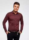 Рубашка базовая приталенная oodji #SECTION_NAME# (красный), 3B140000M/34146N/4900N - вид 2