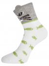 Комплект из трех пар хлопковых носков oodji для женщины (разноцветный), 57102802T3/47469/24 - вид 3