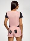 Пижама хлопковая с принтом oodji для женщины (розовый), 56002228/46158/4029P - вид 3
