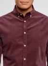Рубашка slim из вельвета oodji #SECTION_NAME# (красный), 3L110218M/44424N/4900N - вид 4