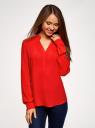 Блузка вискозная прямого силуэта oodji #SECTION_NAME# (красный), 21400394-1B/24681/4502N - вид 2