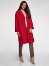 Пальто свободного силуэта с поясом oodji #SECTION_NAME# (красный), 10103034/45628/4500N - вид 6