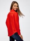 Рубашка хлопковая свободного силуэта oodji #SECTION_NAME# (красный), 11411101B/45561/4500N - вид 3
