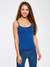 Майка базовая на тонких бретелях oodji для женщины (синий), 14306001-2B/46064/7500N - вид 2