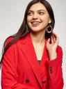 Жакет двубортный прямого силуэта oodji для женщины (красный), 11207013/18600/4500N