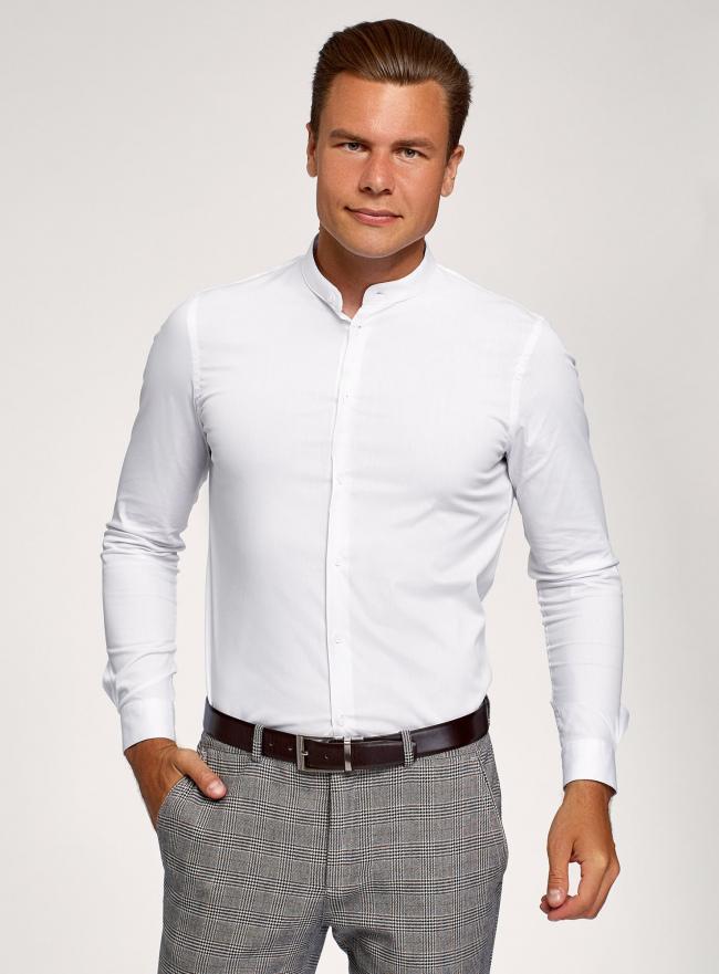 Рубашка приталенная с воротником-стойкой oodji #SECTION_NAME# (белый), 3B140004M/34146N/1000N