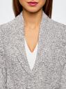 """Кардиган вязаный """"в косичку"""" с поясом oodji для женщины (серый), 63205138-7/31347/1223M"""