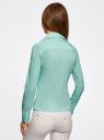 Рубашка хлопковая прилегающего силуэта oodji для женщины (бирюзовый), 21407048/42853/7300N