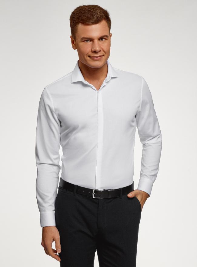 Рубашка базовая хлопковая oodji для мужчины (белый), 3B110017M-3/44482N/1000N