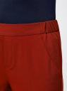 Брюки зауженные на эластичном поясе oodji для женщины (красный), 11703091/18600/3100N