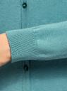 Кардиган вязаный с круглым вырезом oodji для женщины (бирюзовый), 63212568B/46192/6C00M