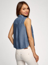 Топ из лиоцелла с нагрудными карманами oodji #SECTION_NAME# (синий), 19009007/42579/7500W - вид 3