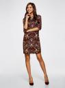 Платье принтованное прямого силуэта oodji #SECTION_NAME# (коричневый), 21900322-1/42913/4954F - вид 2