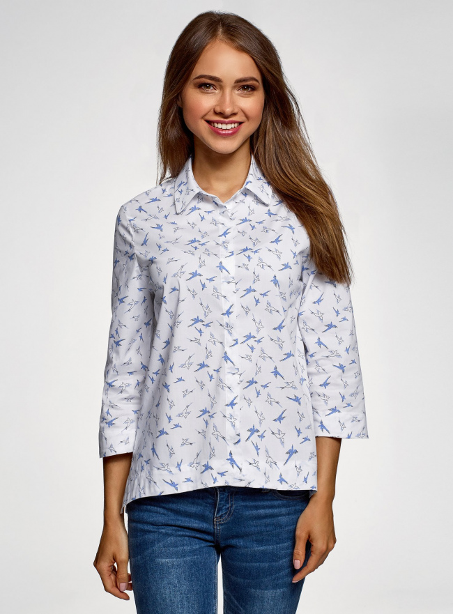 Рубашка свободного силуэта с асимметричным низом oodji #SECTION_NAME# (белый), 13K11002-3B/26357/1070O