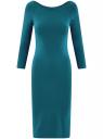 Платье облегающее с вырезом-лодочкой oodji #SECTION_NAME# (синий), 14017001-6B/47420/6C00N