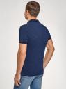 Поло хлопковое с контрастной отделкой oodji для мужчины (синий), 5L412298M-1/47895N/7975F