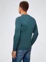Пуловер базовый с V-образным вырезом oodji #SECTION_NAME# (зеленый), 4B212007M-1/34390N/6901M - вид 3